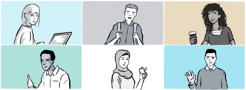 Illustration of 6 different students in a 2x3 grid