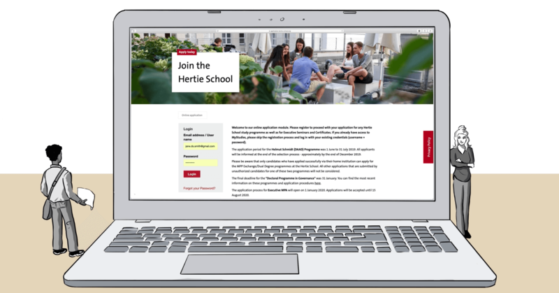 Illustration of two miniature people standing in front of an oversized laptop with the Hertie School admissions portal on the screen.