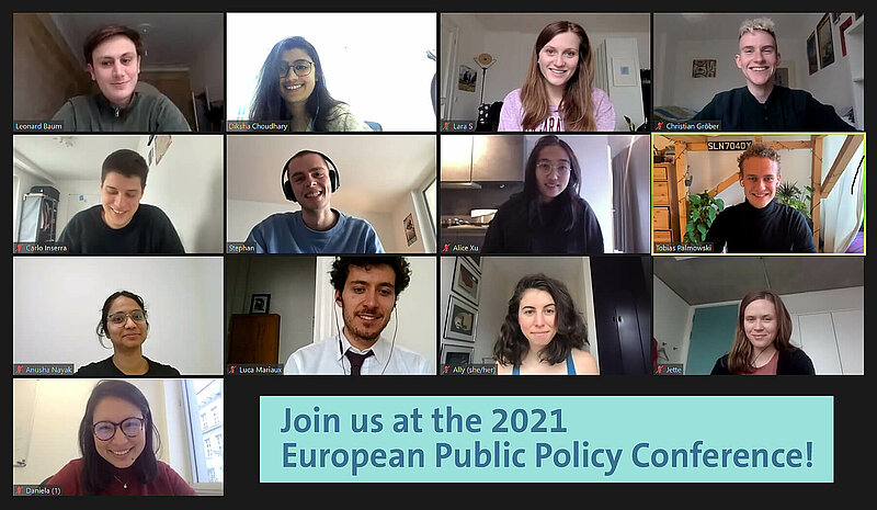 """Zoom call screenshot with 13 conference organisers and dark blue text on light green background """"Join us for the 2021 European Public Policy Conference"""""""
