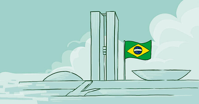 Illustration of Brazilian National Congress building on a mint green background.